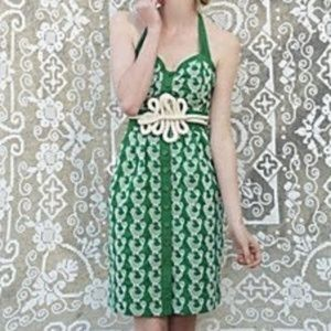 Anthropologie Floreat Green Cockadoodle Dress Sz 8